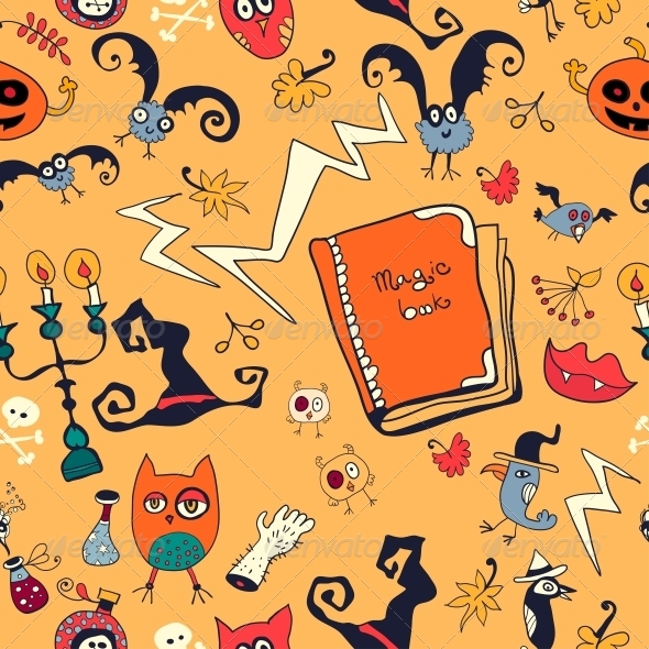 Halloween Hand Drawn Pattern with Monsters - Patterns Decorative
