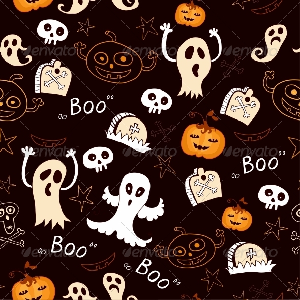 Seamless Halloween with Ghosts and Pumpkins - Patterns Decorative