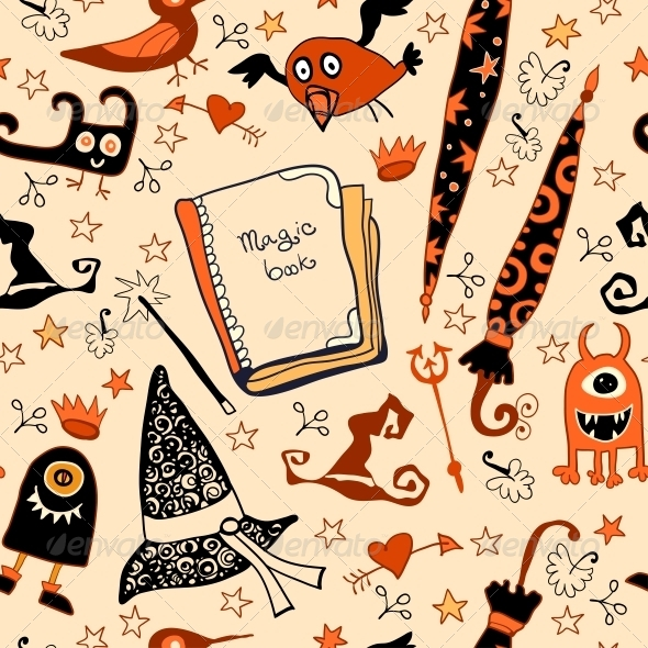 Halloween Seamless with the Things Witches - Patterns Decorative
