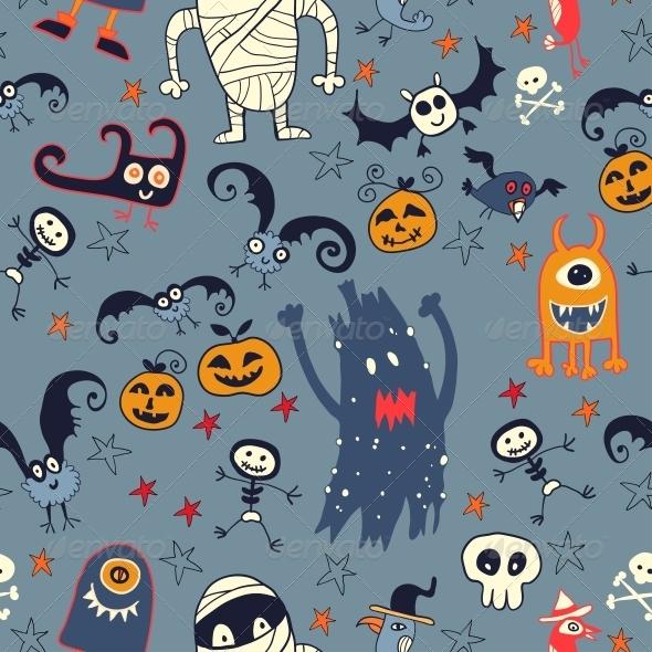 Halloween Hand Drawn Seamless Retro Pattern - Patterns Decorative