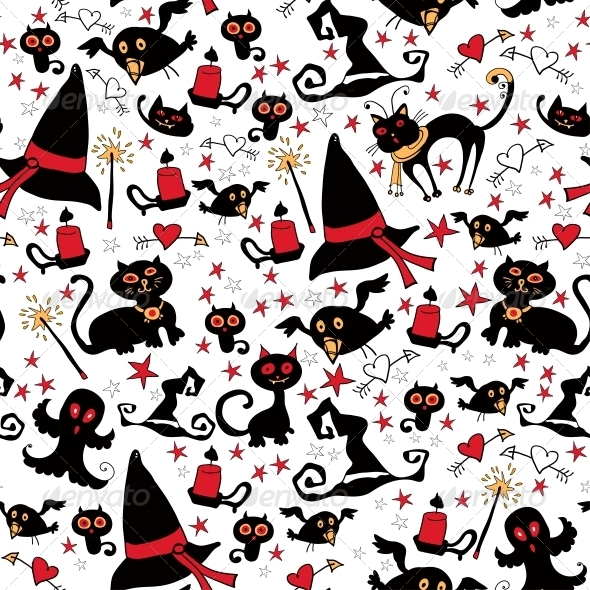 Halloween Seamless Pattern with Witch Things - Patterns Decorative