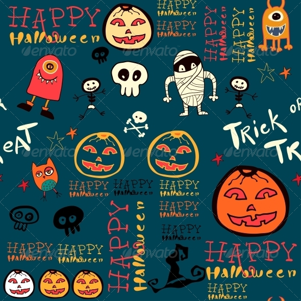 Halloween Background with Bats and Pumpkin. - Patterns Decorative