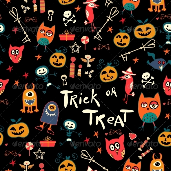 Halloween Seamless Trick-or-Treat Pattern - Patterns Decorative