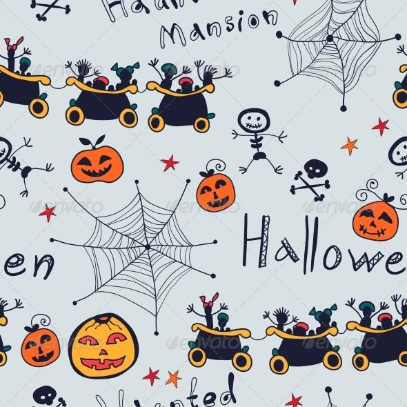 Halloween Cartoon Seamless Retro Pattern - Patterns Decorative