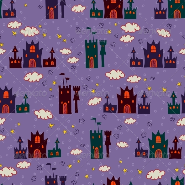 Seamless with Cartoon Castle Pattern - Patterns Decorative