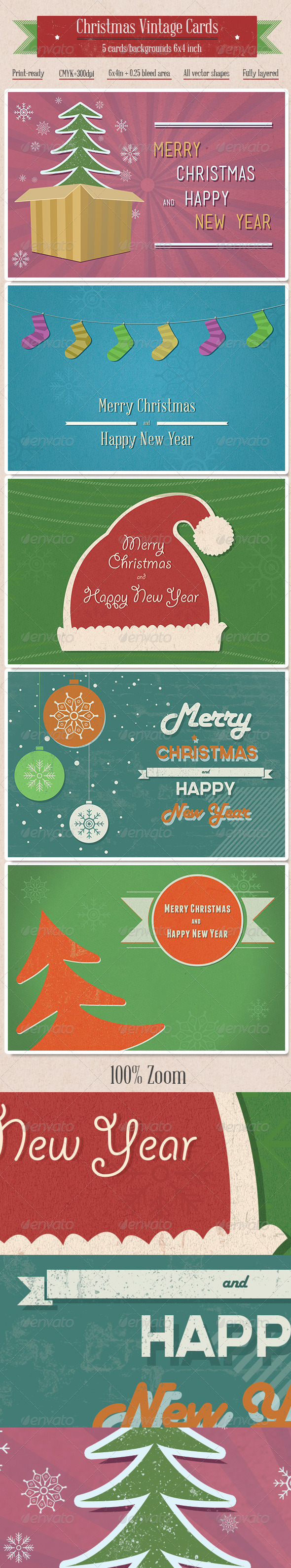 5 Vintage Christmas Cards/Backgrounds - Retro/Vintage Business Cards