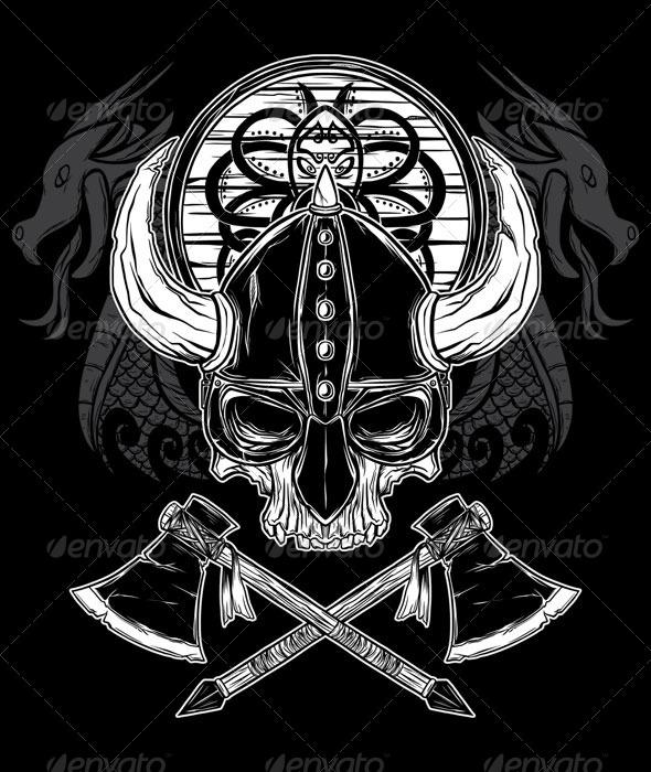 Vector Hand Drawn Viking Skull Axe And Shield By