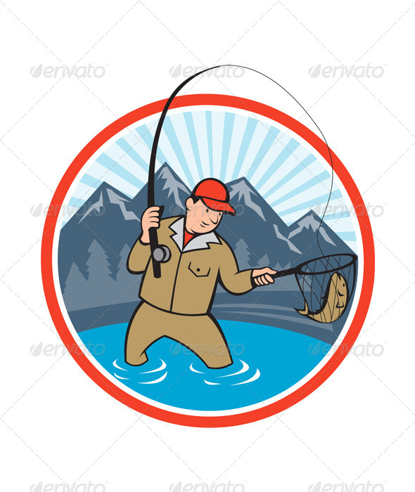 Fly Fisherman Catching Trout Fish Cartoon - People Characters