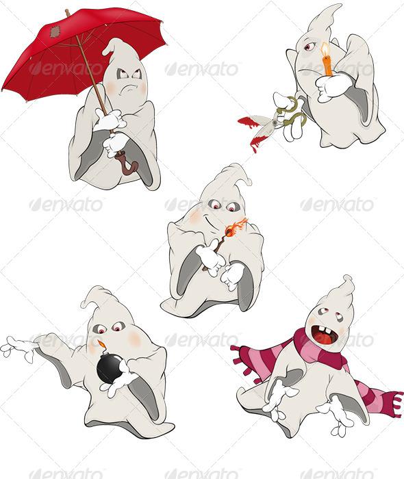 Ghosts Clip Art Cartoon  - Halloween Seasons/Holidays