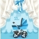 Blue Baby Shower Card with Baby Carriage - GraphicRiver Item for Sale
