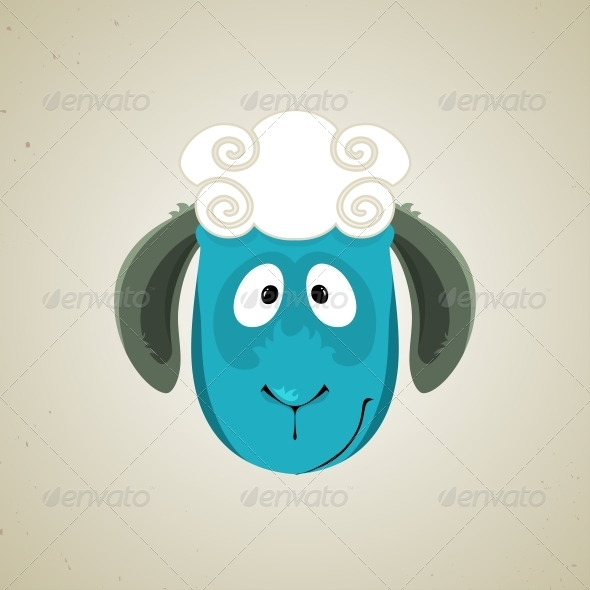 Head of the Cute Cartoon Smiling Sheep - Animals Characters