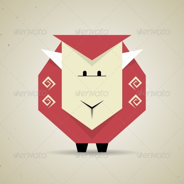 Origami Geometric Sheep from Folded Paper - Animals Characters