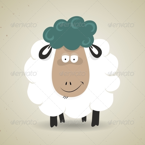 Cartoon Smiling Sheep - Animals Characters
