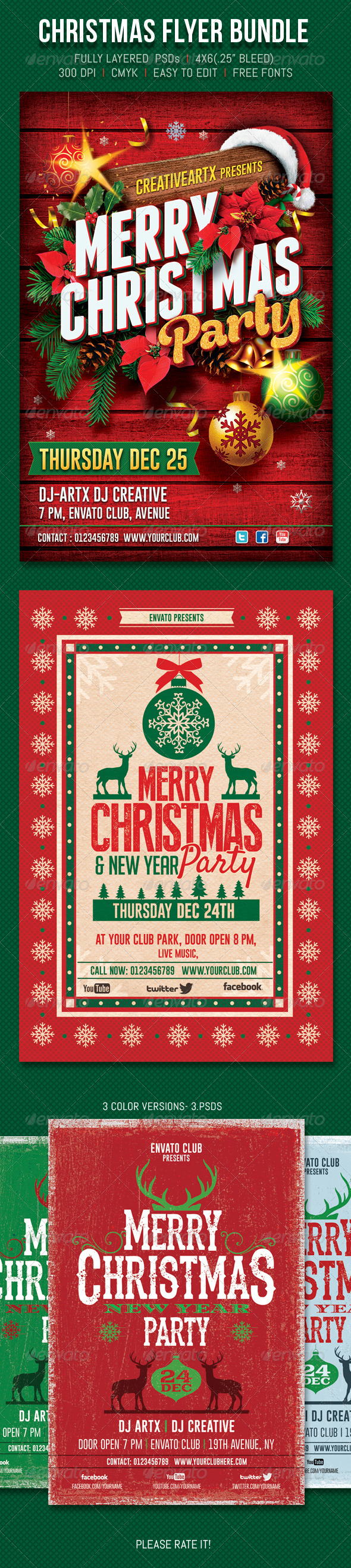 Christmas Flyer Bundle - Events Flyers