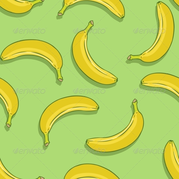 Vector Seamless Pattern of Bananas on Green Background - Patterns Decorative