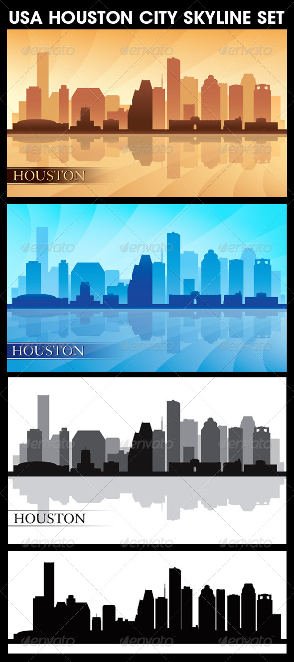 Houston USA City Skyline Silhouettes Set - Backgrounds Decorative