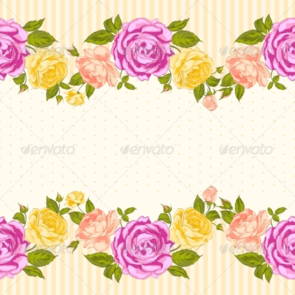 Rose Frame Invitation Card. - Flowers & Plants Nature