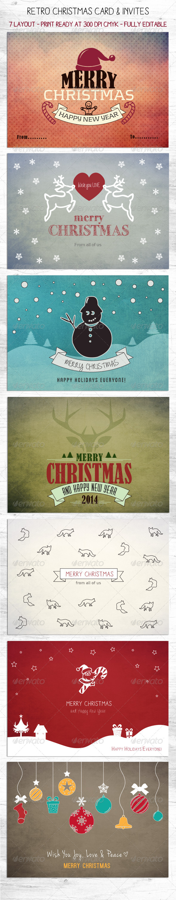 Retro Christmas Card & Invites - Backgrounds Graphics
