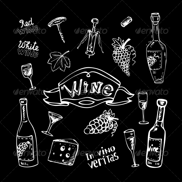 Wine Set on Chalkboard - Decorative Symbols Decorative