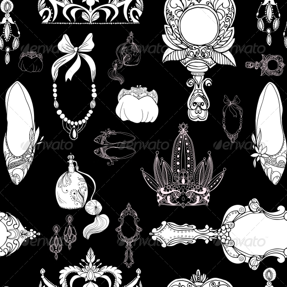 Seamless Princess Accessories on Black - Backgrounds Decorative