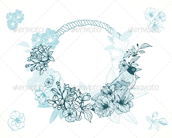 Pastel Romantic Floral Frame - Borders Decorative