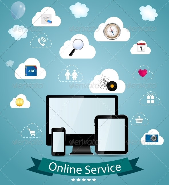 Online Service Concept Vector Illustration - Communications Technology