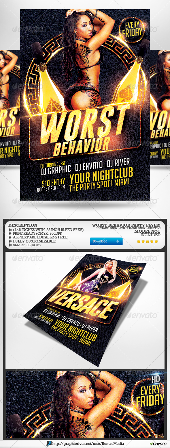 Worst Behavior Party Flyer - Clubs & Parties Events