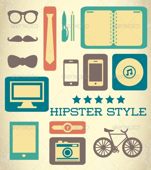 Flat Hipster Set of Web Elements - Decorative Symbols Decorative