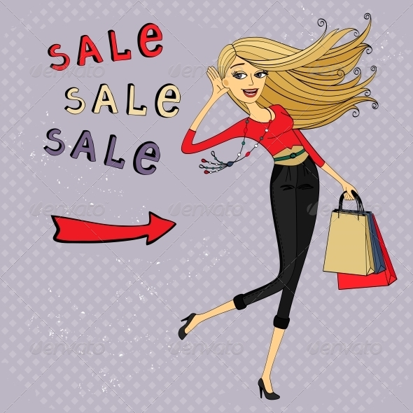 Fashion Sale Ad, Shopping Girl with Bags - Retail Commercial / Shopping