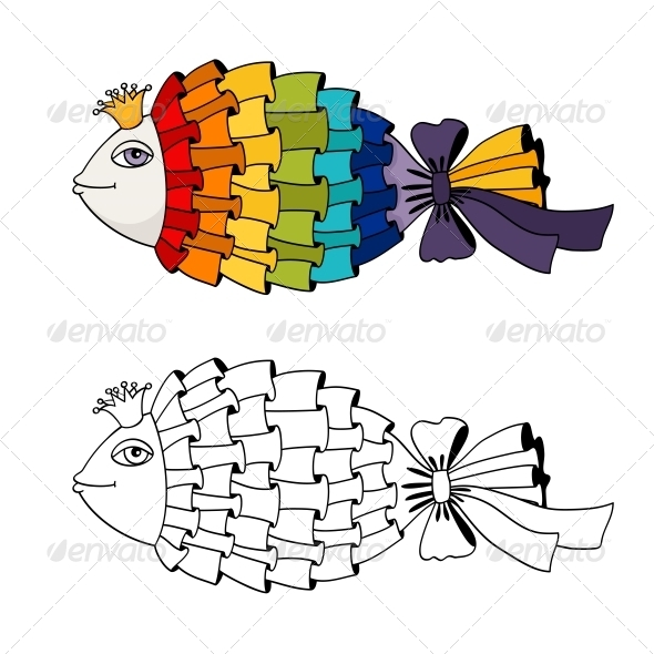 Rainbow Fish Coloring - Decorative Symbols Decorative