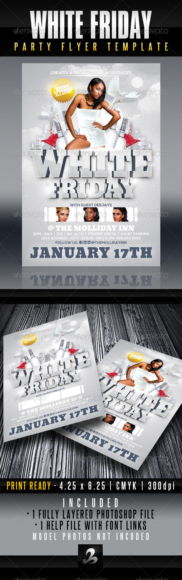 White Friday Party Flyer Template - Clubs & Parties Events