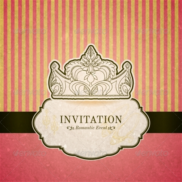 Princess Invitation Card with Crown - Borders Decorative