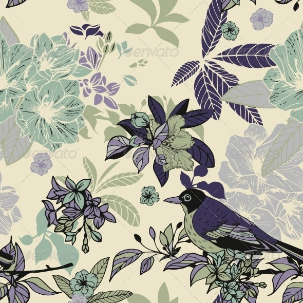 Silk Flowers and Birds Seamless Pattern - Backgrounds Decorative