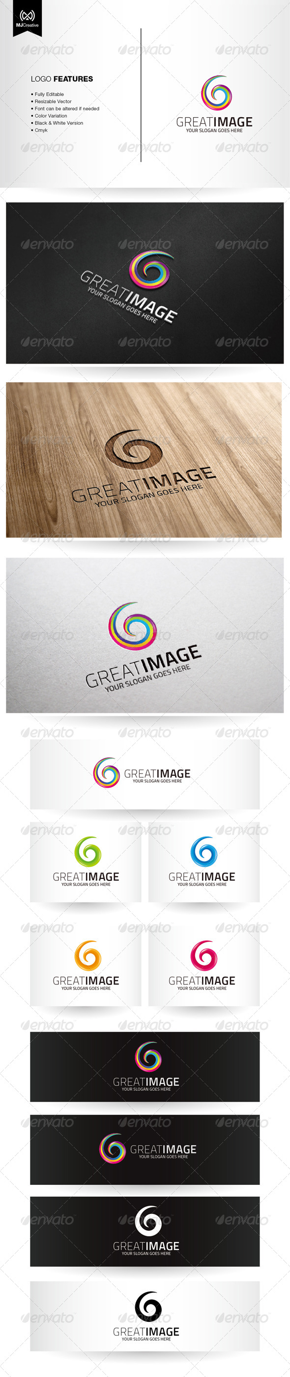 Spiral Colorful G Logo - Vector Abstract