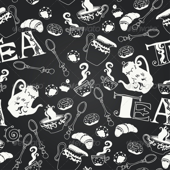 Vector Sweets Chalkboard Seamless Pattern - Patterns Decorative