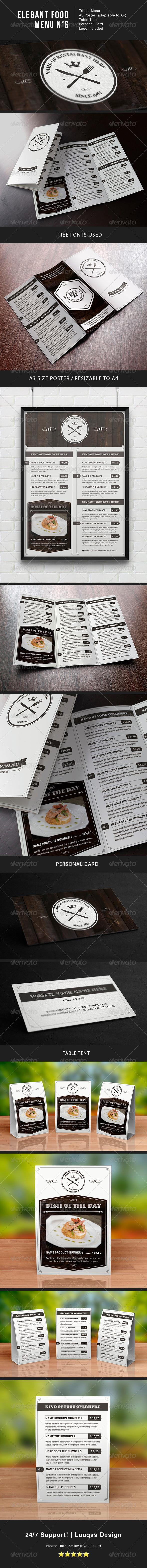 Elegant Food Menu 6 - Food Menus Print Templates