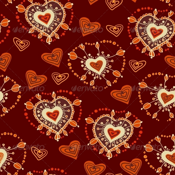 Funny Seamless Pattern with Hearts Vector - Patterns Decorative