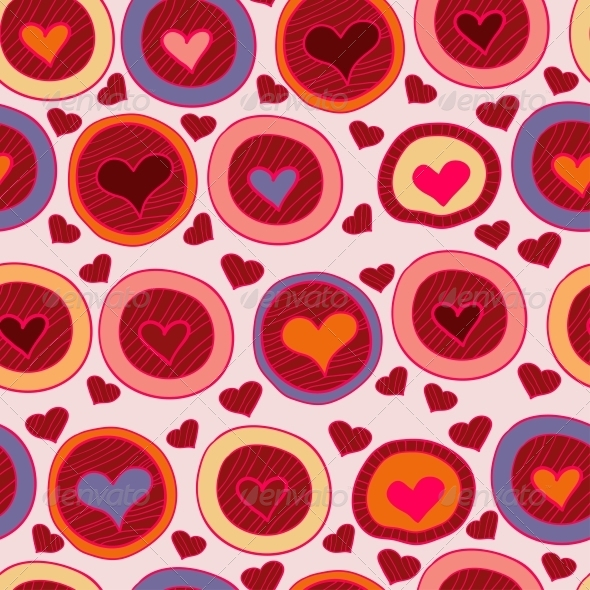 Bright  Valentine Seamless Pattern with Hearts - Patterns Decorative