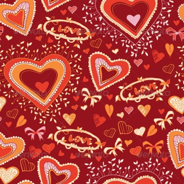 Love Heart Seamless Pattern - Patterns Decorative
