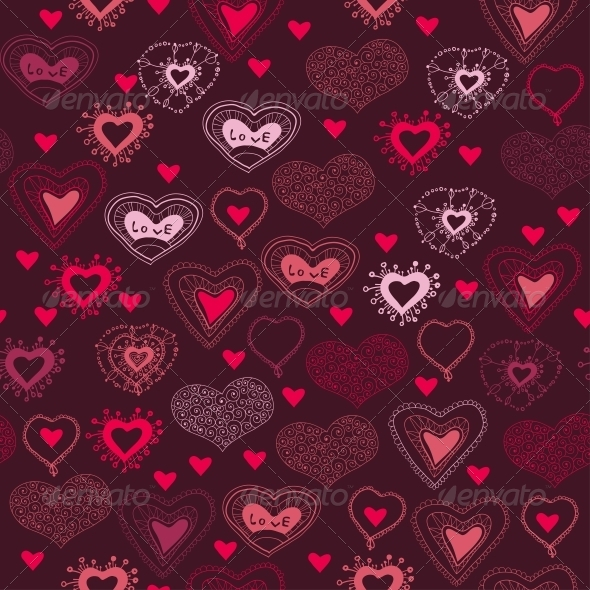 Romantic Seamless Pattern with Hearts - Patterns Decorative