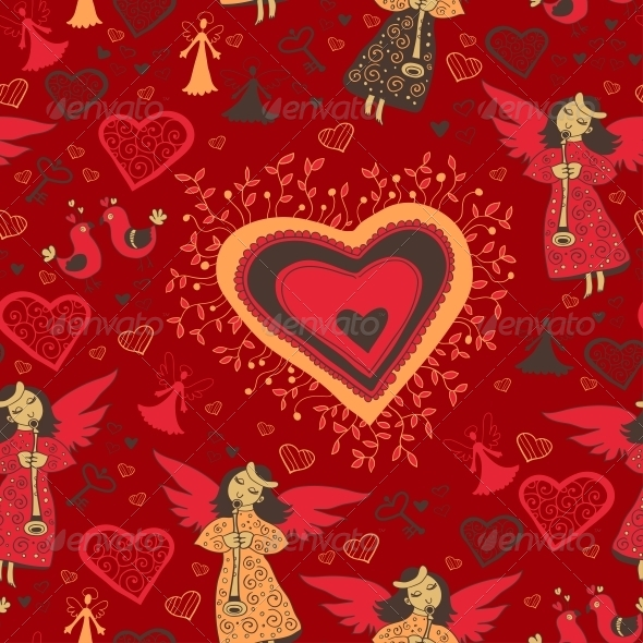 Romantic Valentine Pattern with Angel - Patterns Decorative