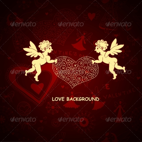 Two Angels. Romantic Love Background - Backgrounds Decorative