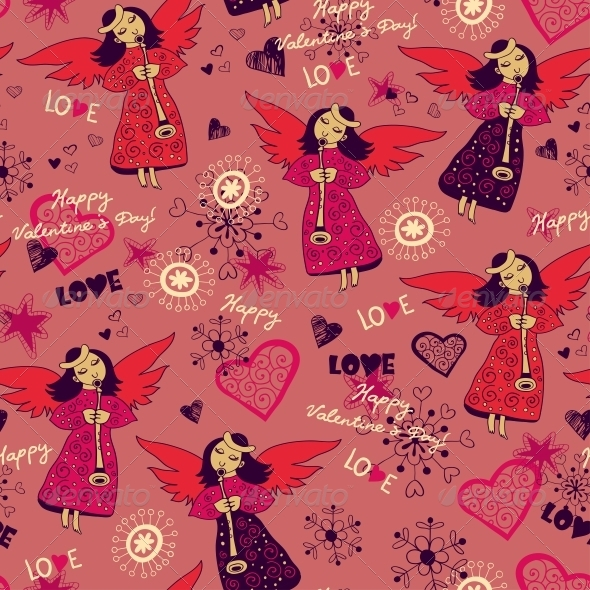 Angels with Hearts Seamless Love - Patterns Decorative