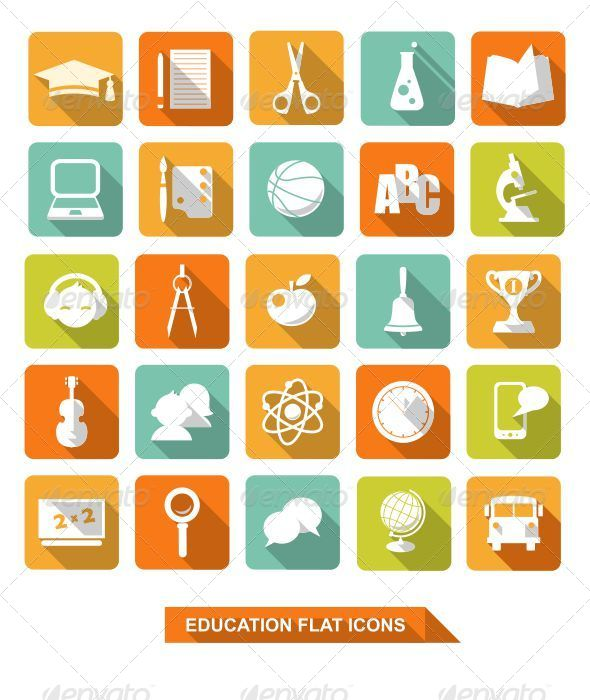 Flat Education Icons with Shadow - Objects Icons