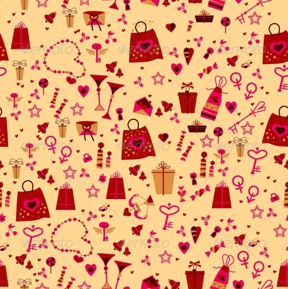 Seamless. Love Elements in Pattern - Patterns Decorative