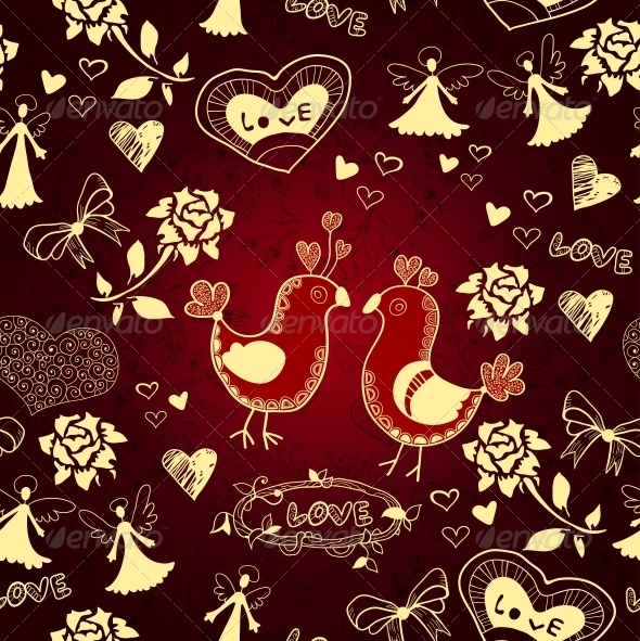 Romantic Seamless Love Background - Patterns Decorative