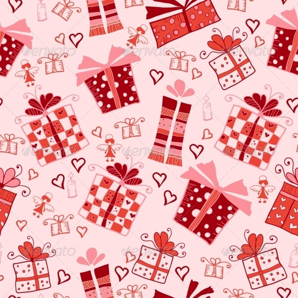 Seamless Pattern with Gift Boxes - Patterns Decorative