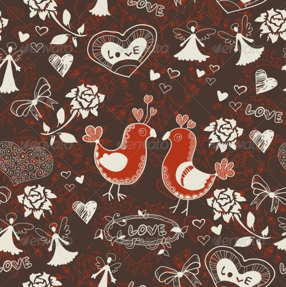Floral Romantic Seamless Background - Patterns Decorative