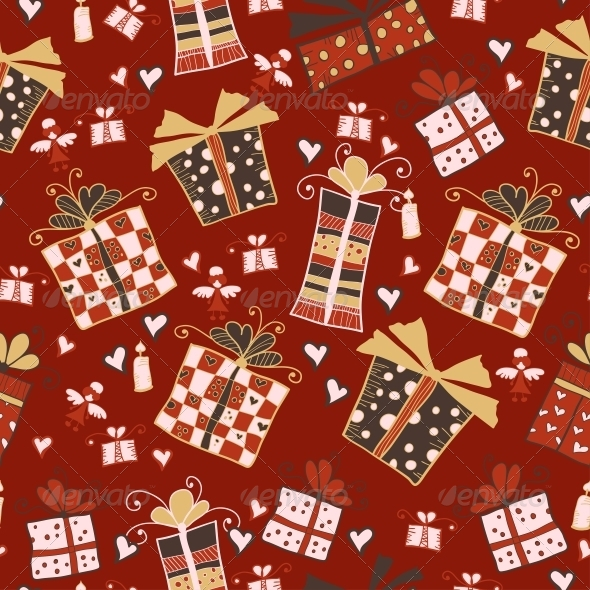 Red Seamless Pattern with Gifts - Patterns Decorative