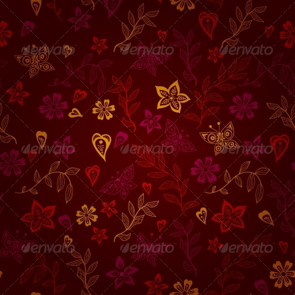 Butterfly and Flowers Pattern - Patterns Decorative